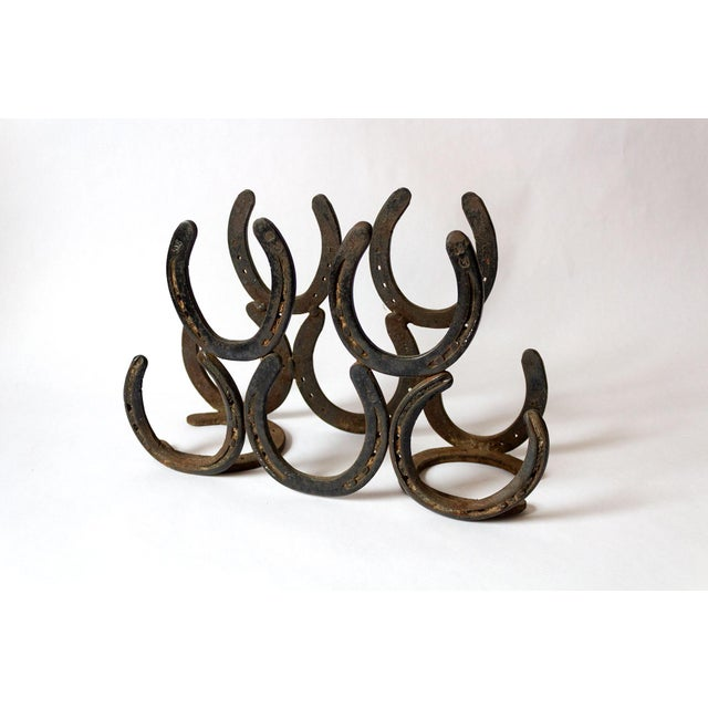 Brown Vintage Horseshoe Wine Rack For Sale - Image 8 of 8