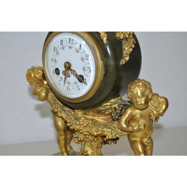 Red Auguste Moreau Bronze & Marble French Mantle Clock 19th Century For Sale - Image 8 of 10
