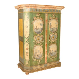 Antique Louis XIV Style Continental Painted Armoire For Sale