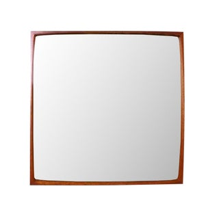 Vintage Danish Modern TH Poss' EFTF Teak Concave Wall Mirror For Sale
