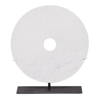 Chinese White Hardstone Incised Bi Disc For Sale