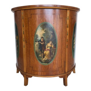 Adams Satinwood Hand Painted Demilune Cabinet For Sale