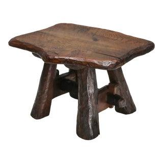 Wabi Sabi Rustic Side Table in Pine For Sale
