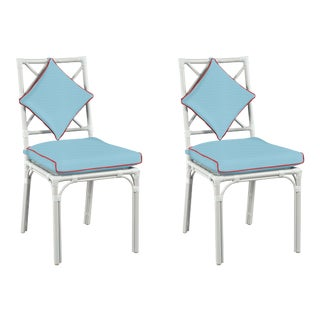Haven Outdoor Dining Chair, Canvas Air Blue with Canvas Jockey Red Welt, Pair For Sale