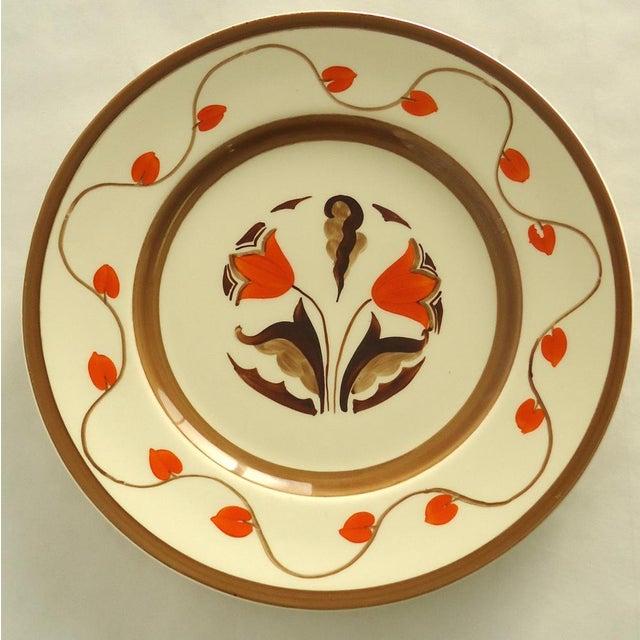 Art Deco Hand Painted Orange Tulip Plate - Image 2 of 6