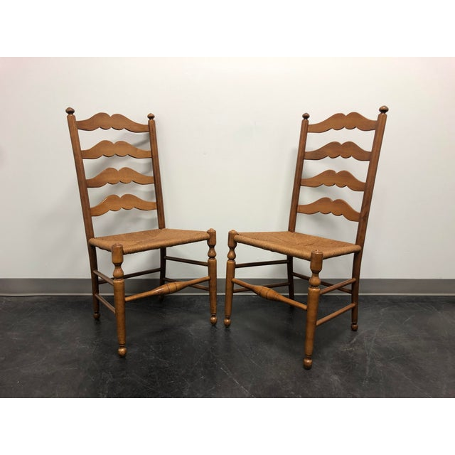 Ethan Allen Ladder Back Rush Seat Dining Side Chairs - Pair 1 For Sale - Image 10 of 10