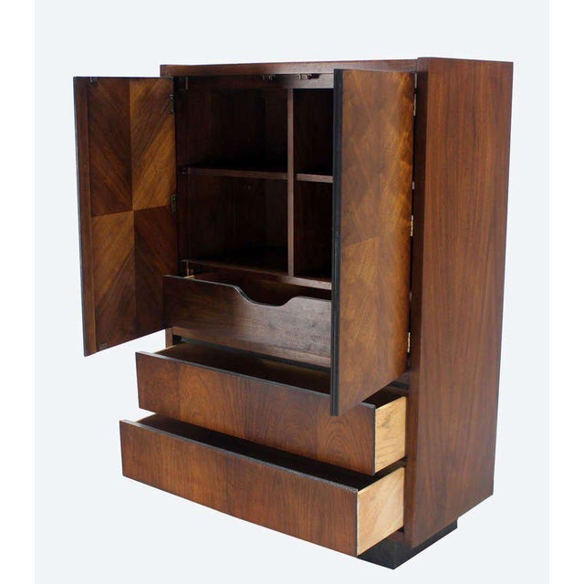 Mid-Century Modern Walnut Gentlemen's High Chest Chifferobe Armoire For Sale - Image 4 of 10