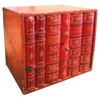 19th C. French Leather Faux Book Liquor Box For Sale