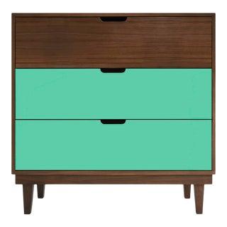 Nico & Yeye Kabano Modern Kids 3 Drawer Dresser Walnut Mint For Sale