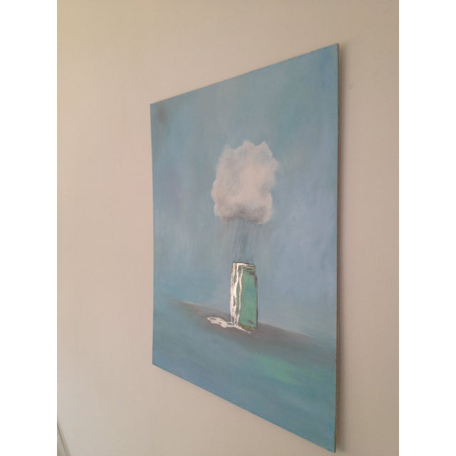 "French Provincial ""Rain Catcher"" Oil Painting by Natalie Mitchell For Sale - Image 3 of 6"