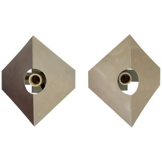 Metal Sconces in the Style of Max Sauze - A Pair For Sale