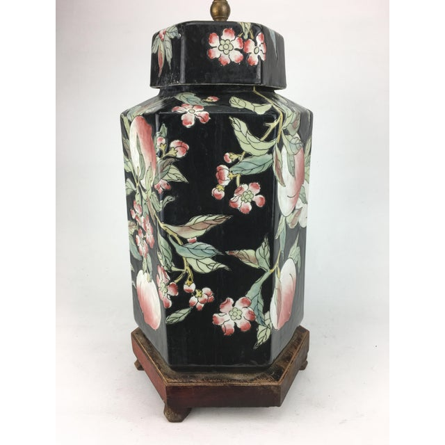 1970s 1970s Chinese Hexagonal Vase Lamp With Longevity Peaches For Sale - Image 5 of 7