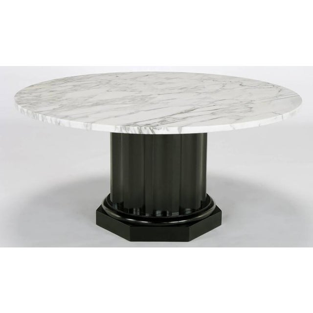 White Carrara Marble Coffee Table with Ebonized Fluted Wood Base - Image 3 of 7