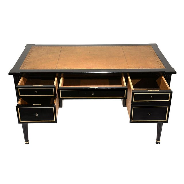 French Louis XVI-style Ebonized Desk - Image 3 of 10
