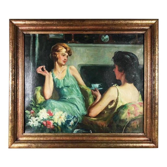 """Large 1920s """"Young Ladies Having Tea"""" Portrait Oil Painting by John Holiver For Sale"""