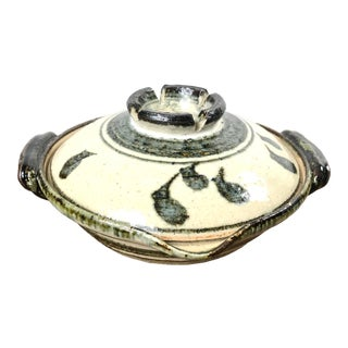 Mid 20th Century Japanese Studio Pottery Stoneware Covered Rice Bowl For Sale