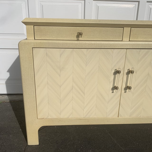 Contemporary Harrison Van Horn Parchment Raffia Covered Sideboard Cabinet For Sale - Image 3 of 11