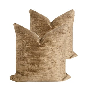 Italian Cocoa Crushed Velvet Pillows - a Pair For Sale