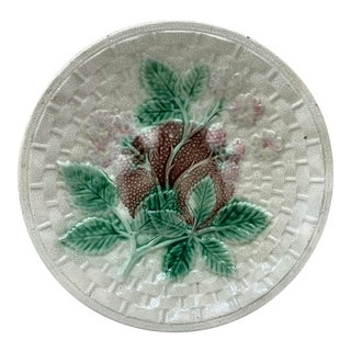 1890 English Rustic Majolica Blackberries Plate For Sale