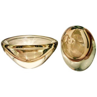 1970s Formia Italian Minimalism Smoked Pink Murano Glass Bowl and Vase - Set of 2 For Sale