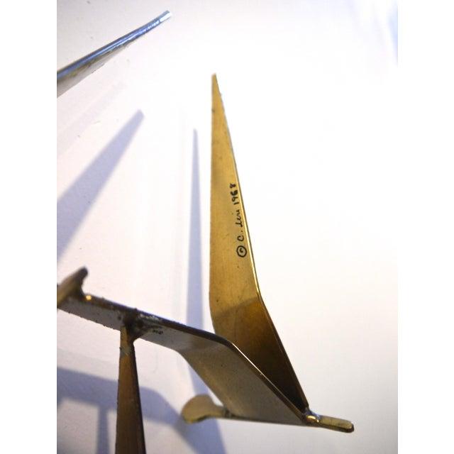 "1968 C. Jere Brass Brutalist "" Birds in Flight"" Wall Sculpture - Image 3 of 8"