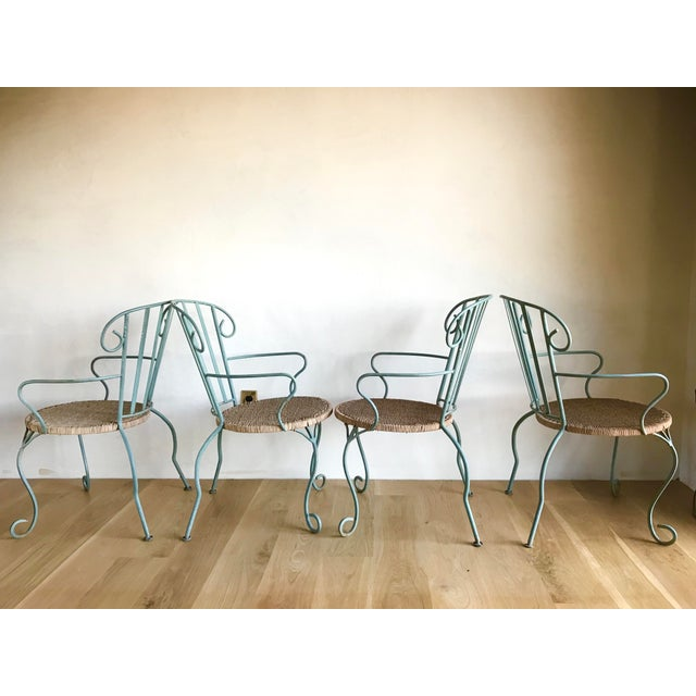 Metal Vintage Verdigris Iron and Woven Rattan Dining or Patio Chairs-Set of Four For Sale - Image 7 of 13