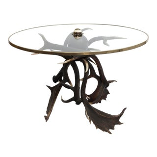19th Century Lodge Antler Based Side Table For Sale