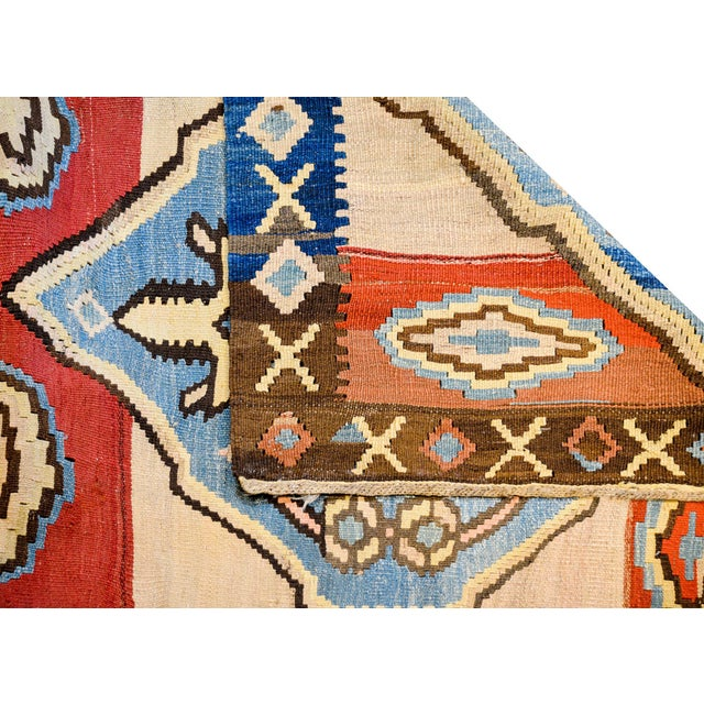 Blue Bold Early 20th Century Azari Kilim Runner For Sale - Image 8 of 9