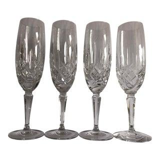 Gorham Modern Crystal Fluted Champagne Glasses S-4 For Sale