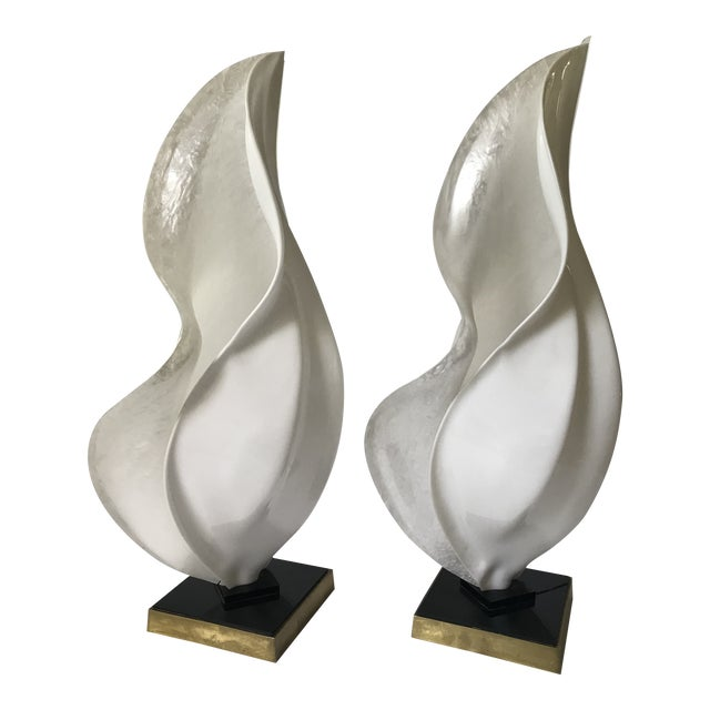 Black Rougier Mid-Century Modern Organic Free-Form Acrylic Table Lamps — Pair For Sale - Image 8 of 8