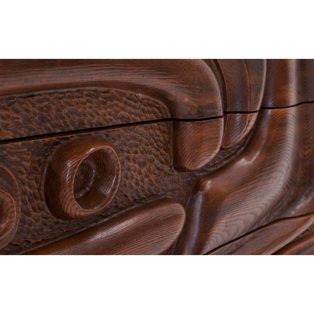 Witco Carved Front Walnut Cabinet / Credenza in the Style of Philip Lloyd Powell For Sale In Kansas City - Image 6 of 10