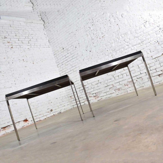 Black Pair Vintage Large Modern Square End Tables in Stainless Steel With Black Laminate Tops For Sale - Image 8 of 13