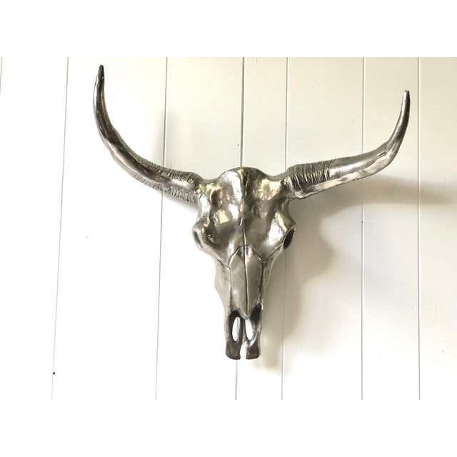 Contemporary Chrome Steerhorn Wall Sculpture For Sale - Image 13 of 13