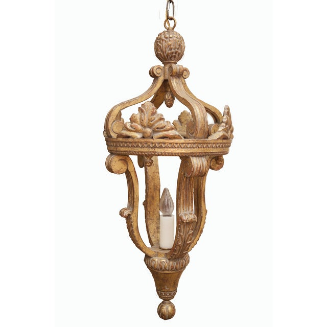 Wood carved single bulb gilt finish lantern. Brand new, never been hung, by Formations Arezzo Gilt Lantern. Perfect for...