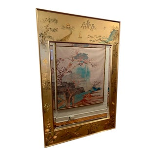 Late 20th Century LaBarge Chinoiserie Style Eglomise Mirror For Sale