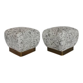 Mid Century Karl Springer Style Souffle Ottomans- A Pair For Sale