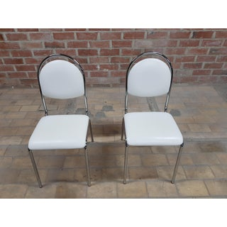 Pair of Contemporary Mid Century Chrome White Vintage Retro Kitchen Side Chairs Preview