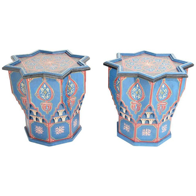 Moorish Star Shape Blue Side tables - A Pair For Sale - Image 13 of 13