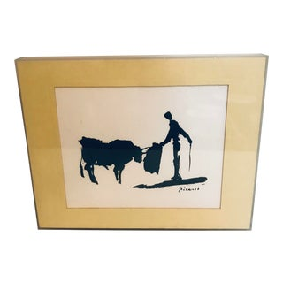 """Vintage 1970 Pablo Picasso """"Toros Y Toreros"""" Print in Lucite Frame For Sale"""