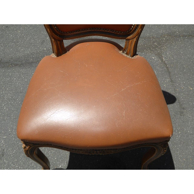 French Provincial Style Brown Leather Accent Chair For Sale - Image 9 of 11