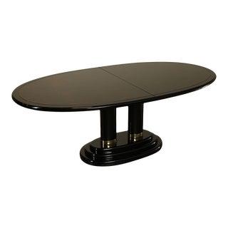 Henredon Burl Walnut, Black Lacquered Scene Three Oval Pedestal Dining Table For Sale