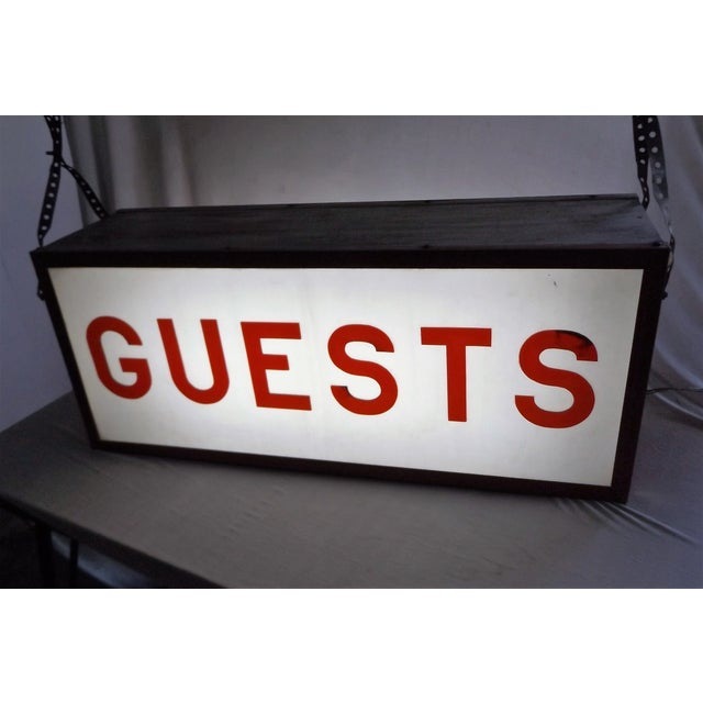 """Vintage Double-Sided Lit """"Guests"""" Sign - Image 9 of 10"""