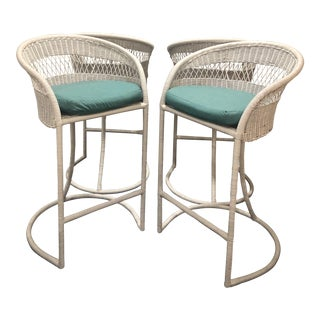 1960s Vintage Regency Palm Beach Style Restored Barrel Back Bar Stools- Set of 4 For Sale