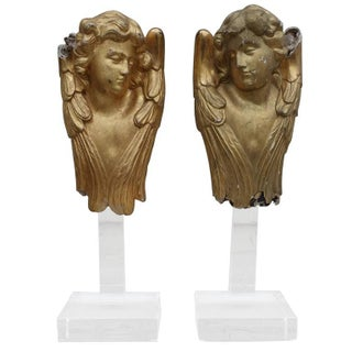 19th Century Gold Gilt Cherubs on Lucite Bases, Pair For Sale