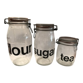 Vintage Glass Kitchen Canisters - Set of 3