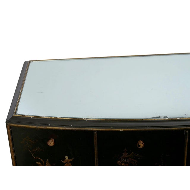 Wood Art Deco Chinoiserie Mirrored Top Chest of Drawers Dresser Circa 1940s For Sale - Image 7 of 13