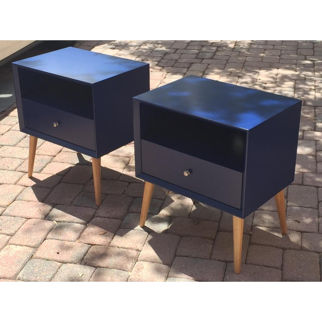 Modern Blue Tapered Leg Nightstands - A Pair For Sale - Image 4 of 8