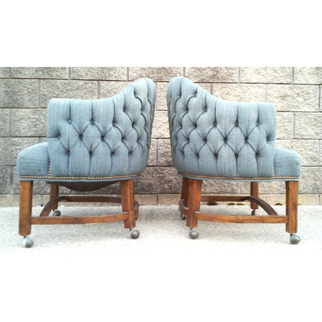Blue Tufted Club Chairs With Nail Head Trim-A Pair For Sale - Image 4 of 10