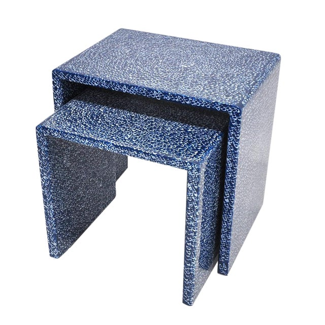 Blue Waterfall Nesting Tables - A Pair - Image 1 of 6