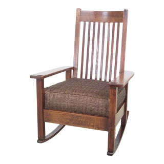 Vintage Quaint Stickley Mission Oak Rocking Chair For Sale